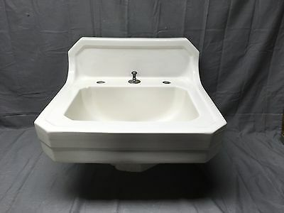 Vtg Mid Century Art Deco Clipped Corner White Porcelain Ceramic SInk Old 193-17E