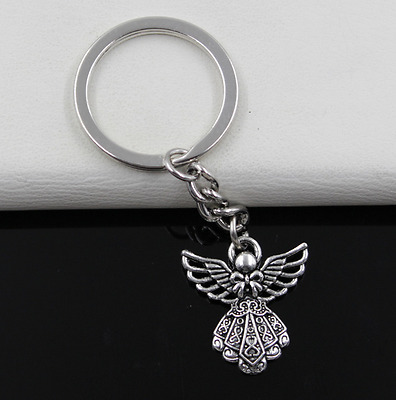 Fashion 1pcs Metal Angel Key Ring Keychain Jewelry Silver Plated