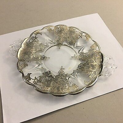 Depression Glass Plate Floral & Leaf Pattern -- Silver Overlay