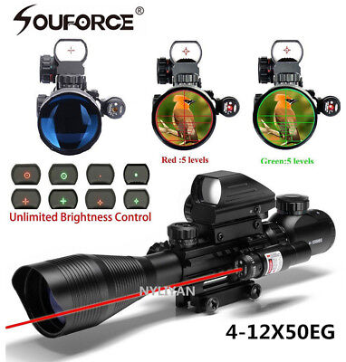 4-12X50EG Tactical Rifle Scope+Holographic 4 Reticle Sight+mini Red Laser JG8