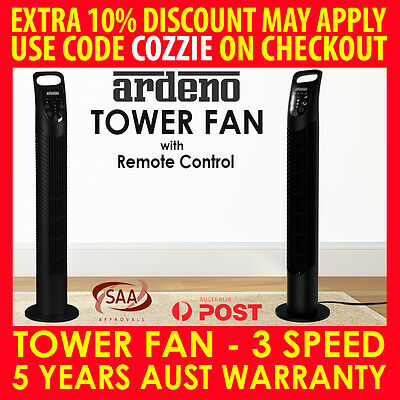 Ardeno Portable Tower Fan Remote Control Cross Flow Touch Panel Night - Black
