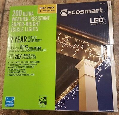 EcoSmart LED 200 Ultra Weather-resistant Warm White Super-Bright Icicle Lights