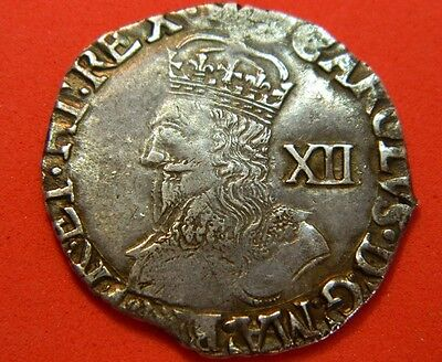 Very Nice High Grade Charles 1St Tower Mint Silver Shilling Mm Tun 1636-1638