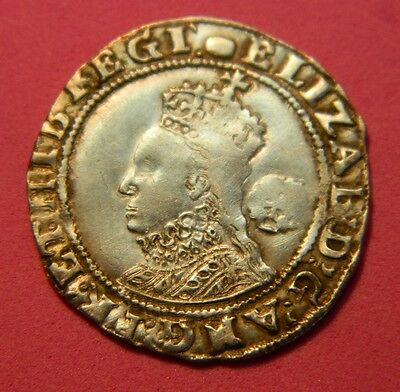 High Grade Tudor Period 1593 Elizabeth 1St Silver Sixpence Rose Beside Bust.