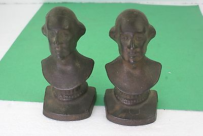 Pair Small George Washington Bicentennial 1932 Book Ends Cast Iron