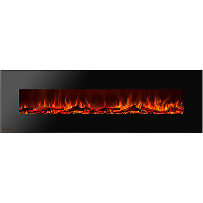 Ignis Royal 95 inch Wall Mount Electric Fireplace with Logs