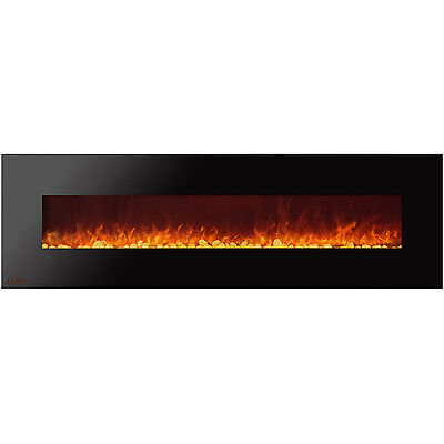 Ignis Royal 95 inch Wall Mount Electric Fireplace with Pebbles