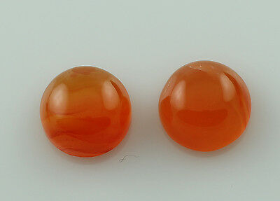 Carnelian 5.40 Ct Pair Of Orange Round Shape 9 Mm Earth Mined Cabochon Loose Gem