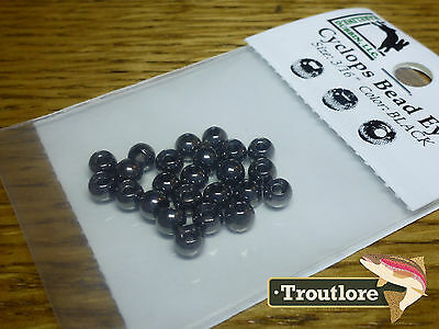 "24 PIECES BRASS BEAD HEADS BLACK 3/16"" 4.2mm HARELINE - NEW FLY TYING MATERIALS"