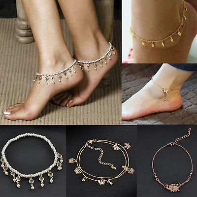 Charm Women Gold Butterfly Anklet Ankle Chain Bracelet Cuff Bangle Foot Jewelry