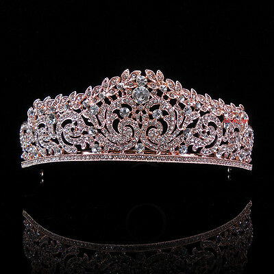 4.5cm High Elegant Leaf Rose Gold Crystal Wedding Party Pageant Prom Tiara Crown
