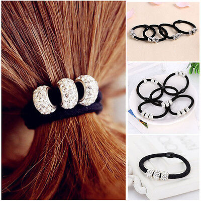 Lovely 10Pcs Crystal Elastic Hair Ties Band Ropes Ring Ponytail Holder
