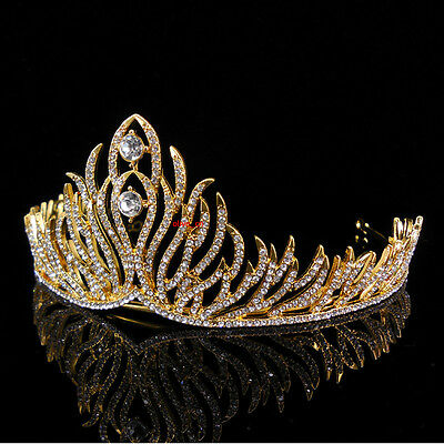 5cm High Gold Full Crystal Leaf Wedding Bridal Party Pageant Prom Tiara Crown