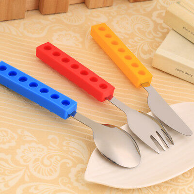 3Pcs Bricks Silicon Steel Portable Kids Cutlery Knife Fork Spoon Utensil Set EH