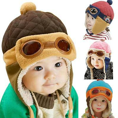 NEW Fashion Cute Kids Baby Pilot Hat Winter Warm Cap Unisex For 10-48 Months