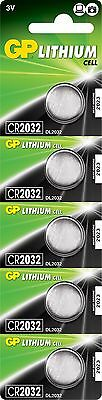 GP Lithium Button Cell Batteries 3V CR2032 Pack of 5 High Capacity 210mAh