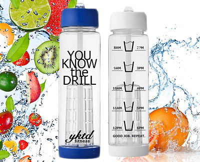 NEW Motivational Infuser Water Bottle with times markings ~ Gym Fitness Health