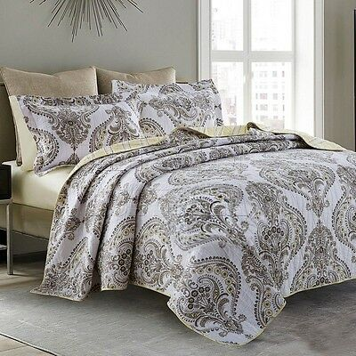 Quilted 100%Cotton Coverlet / Bedspread Set King &Super King Size Bed 234x270cm
