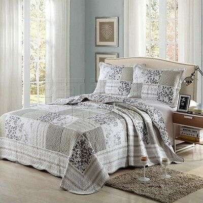 Quilted 100% Cotton Coverlet / Bedspread Set Queen King Size Bed 230x250cm