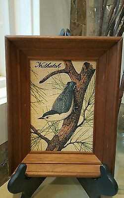 Kay Dee Handprints 'Nuthatch' - Hand painted on 100% Linen - Vintage Collectors