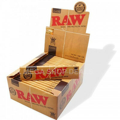 Authentic RAW Classic King Size Natural Rolling Unrefined Smoking Paper Skins