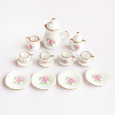 1/12th Dining Ware China Ceramic Tea Set Dolls House Miniatures Pink Rose