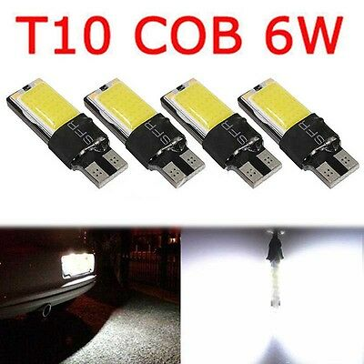 4PCS T10 W5W 194 168 6W LED No Error COB Canbus Side Lamp Wedge Light Bulb White