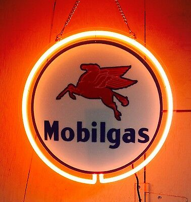 """MOBIL GAS Round Neon 12.5"""" Sign w 4.5"""" Chain Drop - Service, Advertising"""