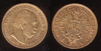 5 Mark Gold Preussen 1877 C !