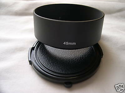 New Metal Standard 49mm Screw-in Lens Hood + Cap