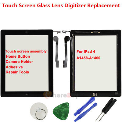 For iPad 4 A1458-A1460 Touch Screen Glass Digitizer Black + Home Button Assembly