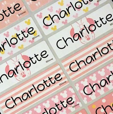 32 Large Personalized Disney Minnie Mouse Children Waterproof Name Stickers