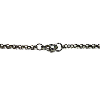 Black Plated Gunmetal Colour Iron Rolo Assembled Chain Necklace