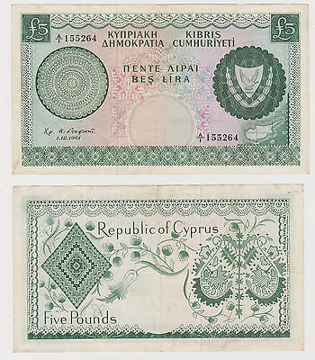 Cyprus 1961 £5 Five Pounds Almost Unc Serial A1 Green 9700