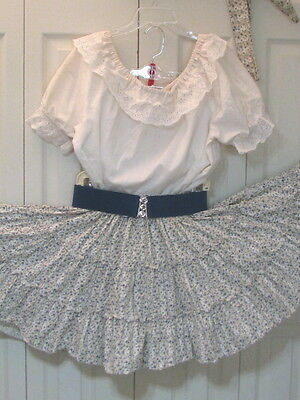 2496 Cream Blouse with Cream and Blue Floral Print Skirt, Belt & Tie, L Petite