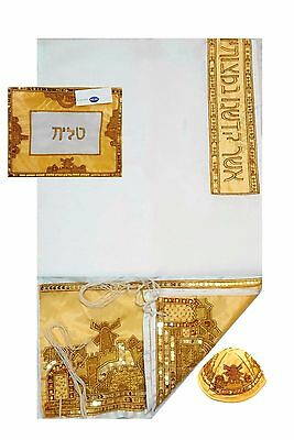 Gold Jerusalem Embroidered Tallit Prayer Shawl Kosher Tallis With Bag & Kippah