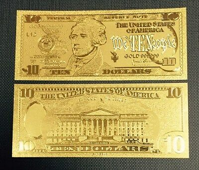 Nice Detail .999 24kt Gold US $10 Ten Dollar Bill Banknote w/ Sleeve Included