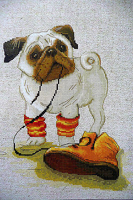 Pug dog puppy counted cross stitch 18 ct Zweigart fabric with Anchor thread