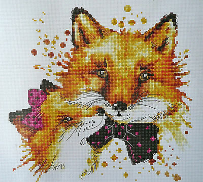 Foxes counted cross stitch 16ct Zweigart fabric with Anchor thread 20 x 20cm