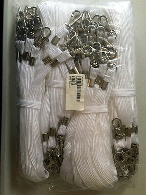 Lot of 100 Lanyards - White - with trigger snap swivel hook - New