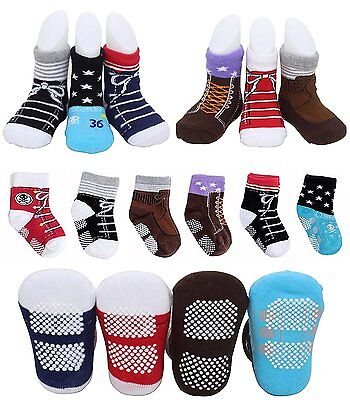6 Pairs Toddler Baby Boys Non Skid Pre Walking Ankle Cotton Baptism Socks Kids