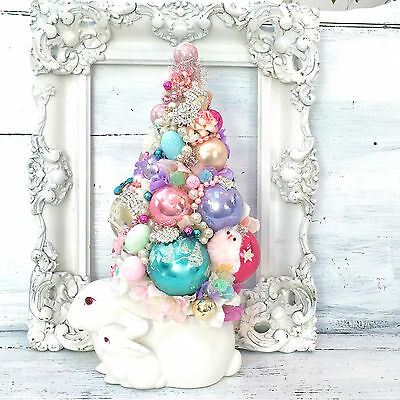 Easter Bottle Brush Tree, Vintage Bunny Rabbit and Baby Planter,Roses
