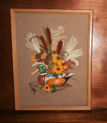"""Wooden Decoy Crewel Embroidery Finished & Framed 12"""" x 16"""" Creative Circle"""