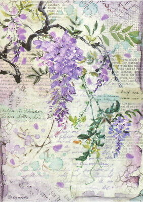 Rice Paper for Decoupage, Scrapbook Sheet, Craft Paper Wisteria
