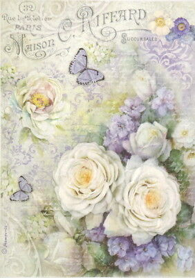 Rice Paper for Decoupage, Scrapbook Sheet, Craft Roses and Butterfly