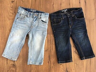 Cat & Jack Toddler Boys 12m Straight And Skinny Light And Dark Blue Lot Of 2