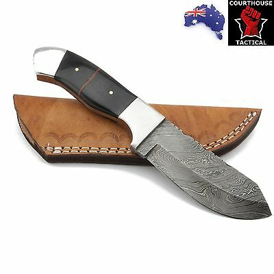 Handmade Hunting Knife, Damascus Blade, Tinted Camel Bone Handle, Leather Sheath