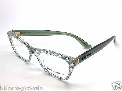 Dolce&Gabbana Eyeglasses DG3198 2855 Sage Lace Plastic Cat Eye Frame 52mm