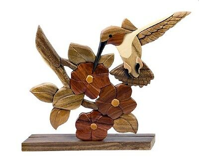Hummingbird Bird Flower Intarsia Wood Table Top Home Decor Figurine Lodge New
