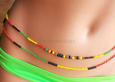 Waist Beads - Queens and Kings - Double Strand Red Green Yellow